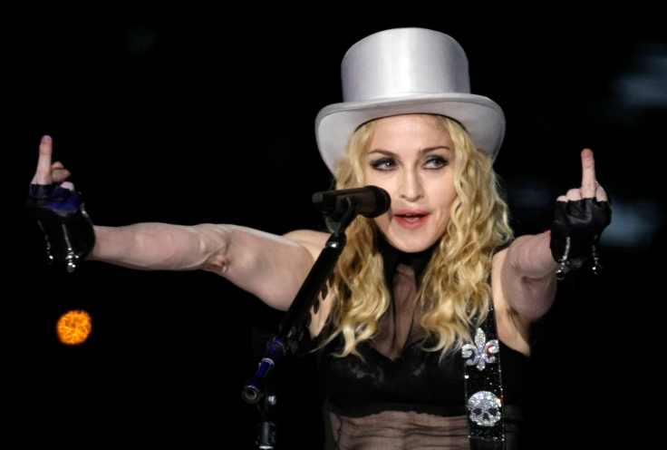"""Madonna performs on stage during her """"Sticky and Sweet"""" tour at Morumbi stadium in Sao Paulo"""