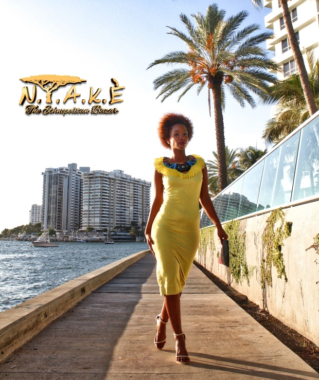 Imara kataainama, Imara lioness, The Magic City Living Blog,miami style, nyakè, miami blogger, inspirational look, afro hair look, daughter of the sun, yellow dress, yellow accessories, bright accessories, ethnic fashion, ethnic style, nübya